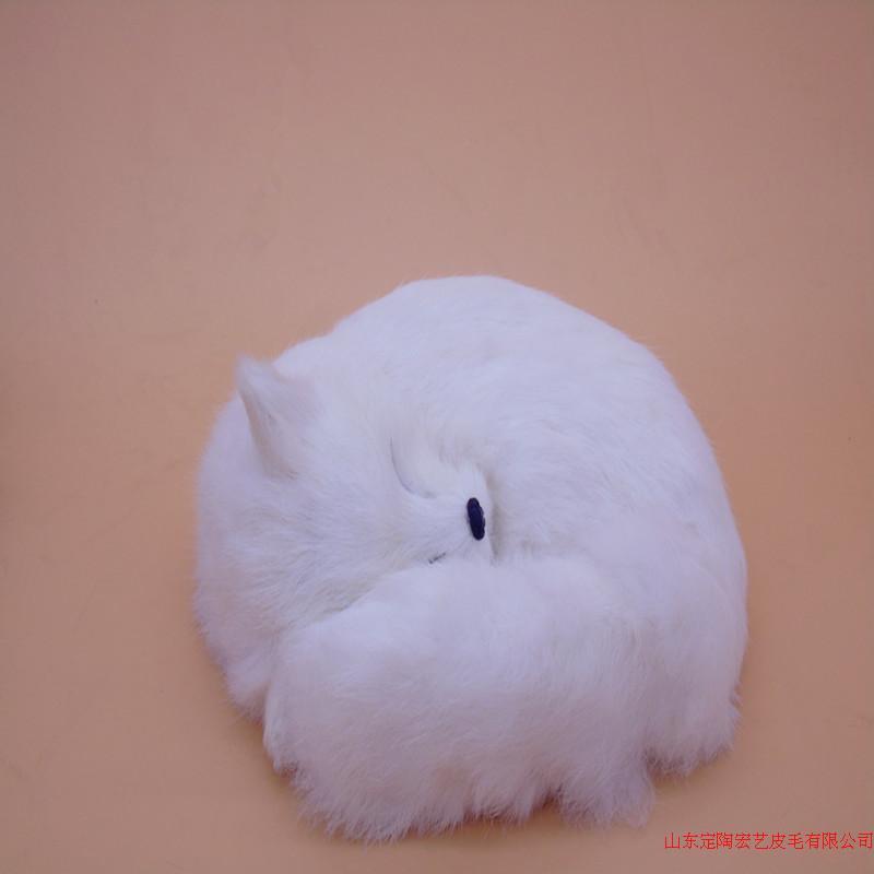 new simulation white fox toy polyethylene & furs big sleeping fox model gift about 27x12x27cm 199