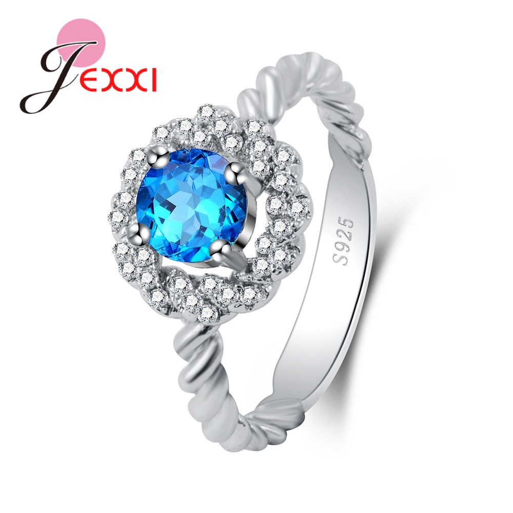Shinning Round Cubic Zirconia Pretty Rhinestone High Quality 925 Sterling Silver Rings Anniversary Presents For Women