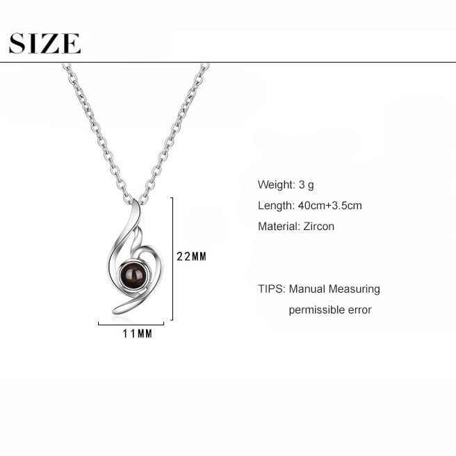 ANENJERY classique en forme de coeur 925 en argent Sterling Projection colliers je t'aime cadeau colliers pour les femmes S-N413