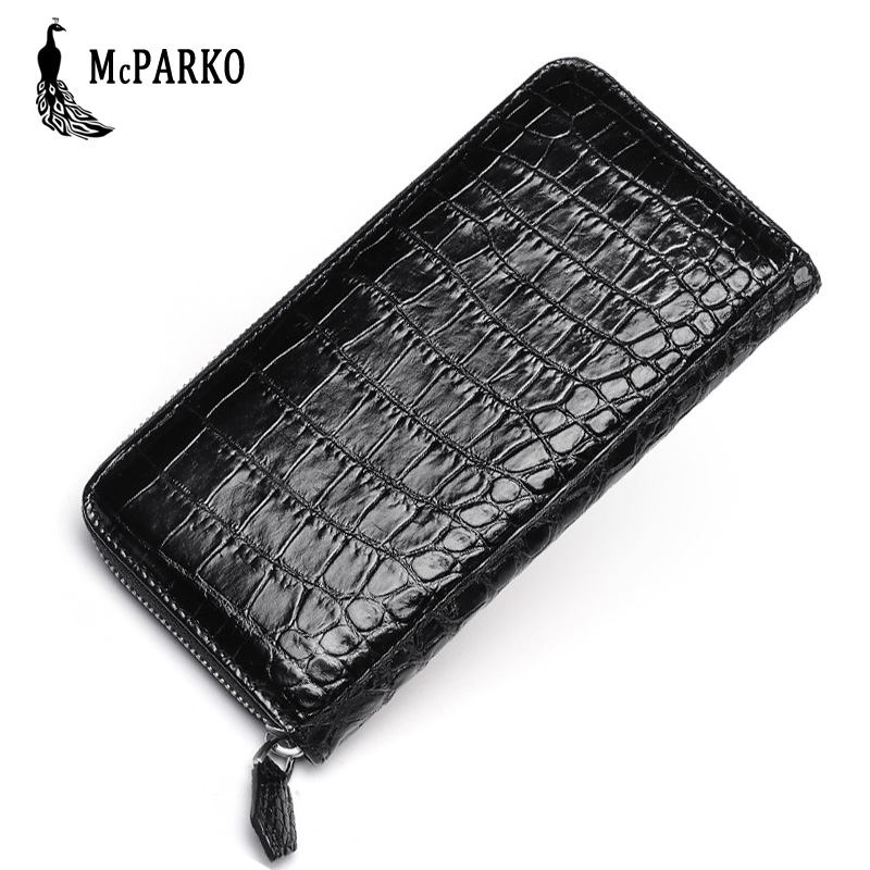 купить Genuine leather crocodile wallet men clutch wallet Luxury alligator skin zipper purse clutch Bag BLACK BROWN по цене 5685.27 рублей