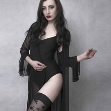 Rosetic, сексуальные готические черные женские ночные рубашки, кружева, v-образный вырез, сетка, прозрачные, пэчворк, Babydoll, модные, тонкие, длинные, сексуальные ночные рубашки
