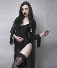 Rosetic Sexy Gothic Black Women Nightgowns Lace V-Neck Mesh See-Through Patchwork Babydoll Fashion Slim Long