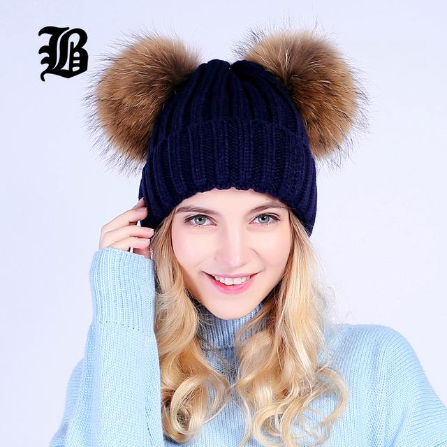[FLB] mink fur ball cap 2 pom poms winter hat for women girl 's wool hat knitted cotton beanies cap brand new thick female cap