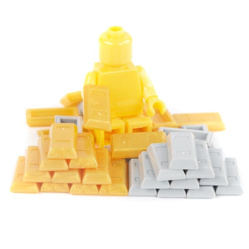 Bricks City Accessories Money Figure Building Block Bullion Gold Bar Silver Box Backpack Friends Blocks MOC DIY Toy Parts C008
