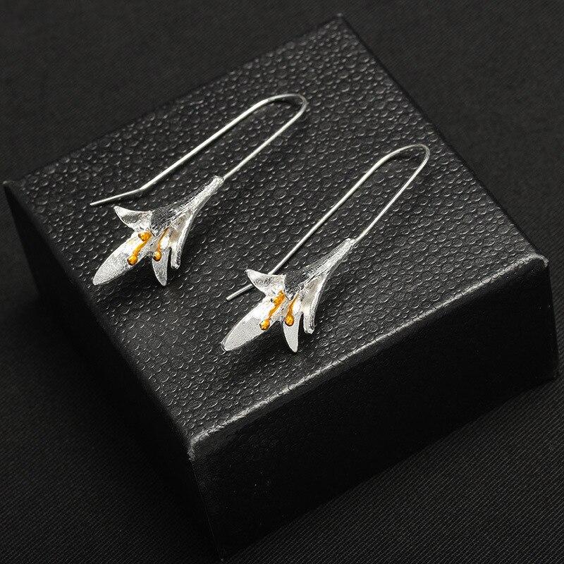 Gold Earings Women Jewelry 2019 Vintage Orchid Fashion Long Drop Earrings For Women Big Dangle Earring Bijoux Jewelry Qw 31 in Drop Earrings from Jewelry Accessories