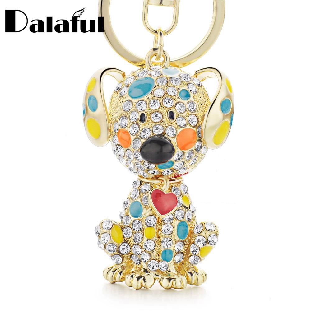 Dalaful Enamel Dalmatian Dog Red Heart Crystal HandBag Pendant Keyrings Keychains For Car Key Chains Holder Women K149