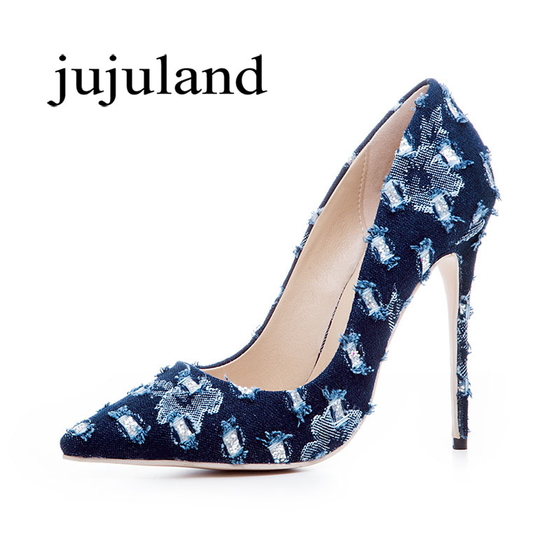 Spring/Autumn Women Lazy Shoes Pumps Stilettos Denim Thin Super High Heels Pointed Toe Casual Fashion Party Big Size Shallow 2017 spring autumn shoes shallow mouth pointed toe fashion high heeled velvet thin heels pumps office party shoes