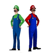 Adult Men Super Mario Brothers Costume cartoon cosplay dress ball party overalls Halloween performance prop Mustache Cap Clothes