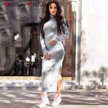 f6d5489f58a Plus Size New 2017 Women Winter Long Sweater Dress Long Sleeve High Neck  Slim Split Bodycon Sexy Knitted Mid Long Dress Vestidos
