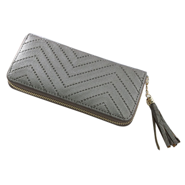 1 pcs PU leather ladies long section zipper tassel wallet /mobile phone bag/clutch bag/coin bag 19.5 * 9.5 * 2cm Silver gray 1 black pu leather ladies long section of ultra thin magnetic buckle multi card wallet wallet size about 19 9 5 2cm