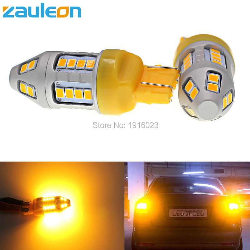 Zauleon 2pcs Amber LED Turn Signal Light T20 7443 580 W21/5W 7440 WY21W 944 lumens Yellow LED Car Light Replace Bulb 2x60w amber orange canbus error free xbd chips led t20 7440 w21w 7443 w21 5w 12 24v trucks led car turn signal light bulb