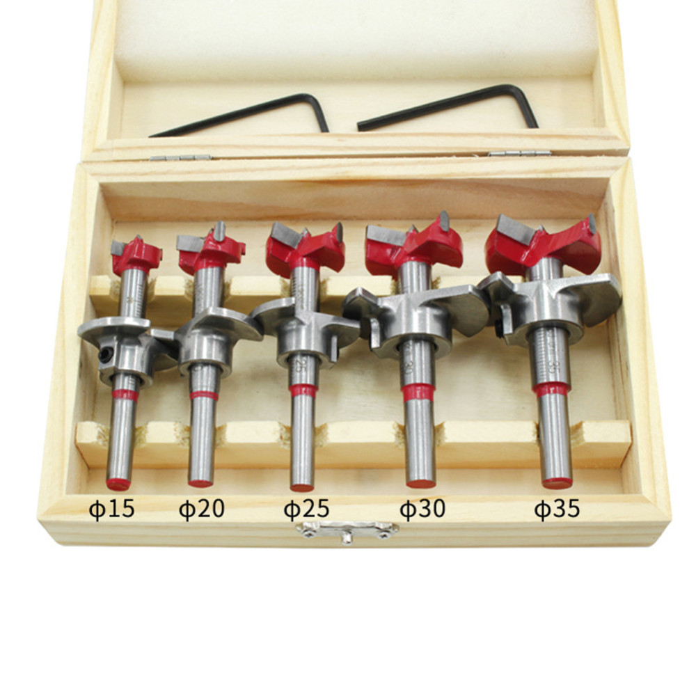 5Pcs Forstner Auger Drill Bit Set Dia 15 20 25 30 35mm Wood Cutter Hex Wrench Woodworking Hole Saw Power Tools With Wooden Box