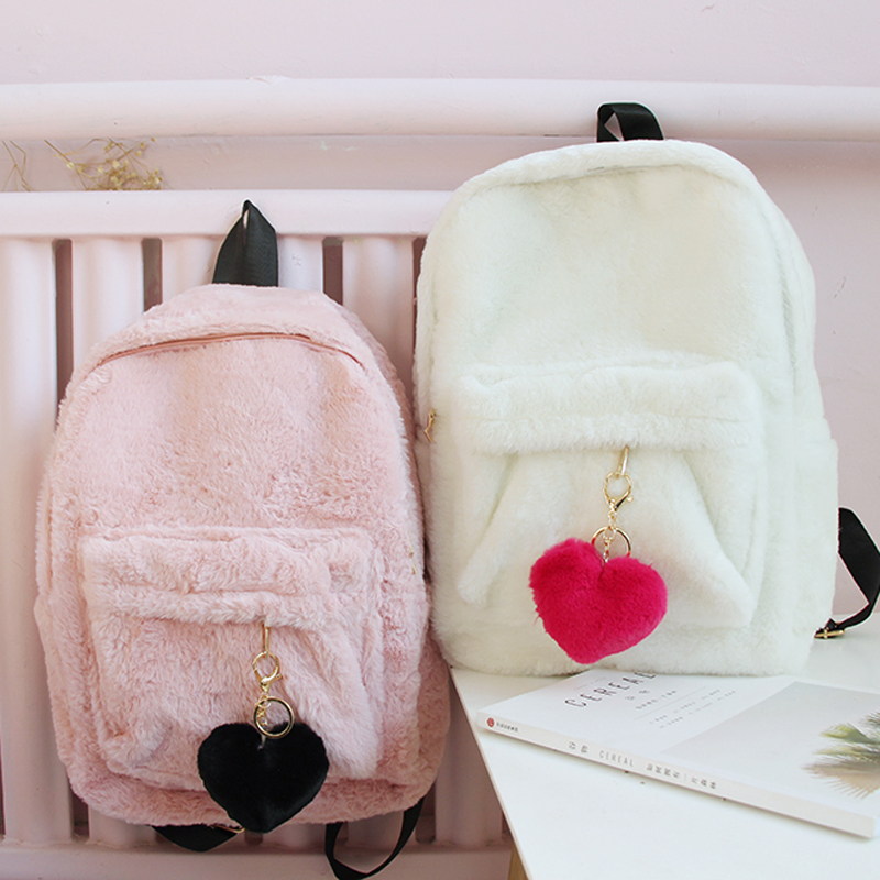 Japanese Cute Girl Fluffy Backpack Korean High School Student Back Pack Soft Sister Kawaii Schoolbag Casual Winter Fluffy Bags