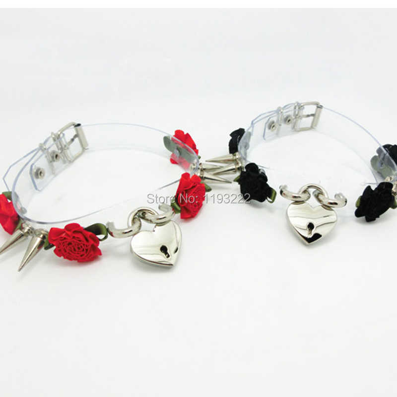 Lolita gorąca sprzedaż Punk bezpieczne serce Choker, kwiat Studded nity kolce jasne kołnierz Nekclace, Handmade zamek i klucz biżuteria