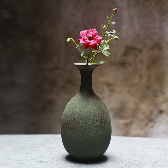 Creative ideas Zen Vintage Old Frosted Green pottery vase Flower arrangement Ornaments Home Decorations & Creative ideas Zen Vintage Old Frosted Green pottery vase Flower ...