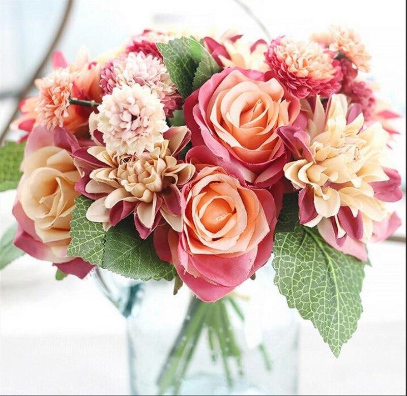 ✓New 30cm/11.8 Silk Flower Wedding Bouquet Rose Dahlia Artificial ...
