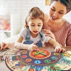Regalo dei bambini grande pezzo di carta di puzzle di puzzle orologio digitale di colore in scatola di educazione precoce di puzzle per bambini giocattoli educativi