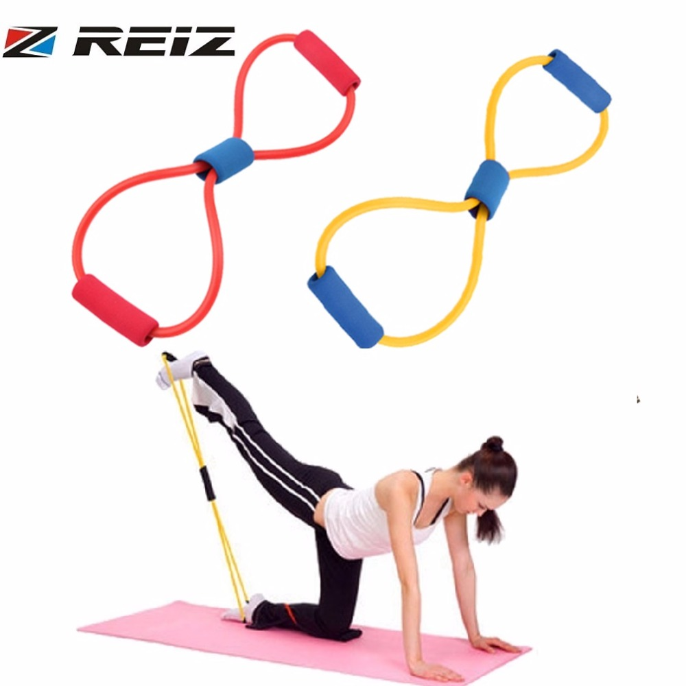 REIZ 8 Word ResistanceTraining Bands Muscle Chest Expander Rope Ankle Strap Fitness Exercise Workout Pulling Yoga Tube Sports