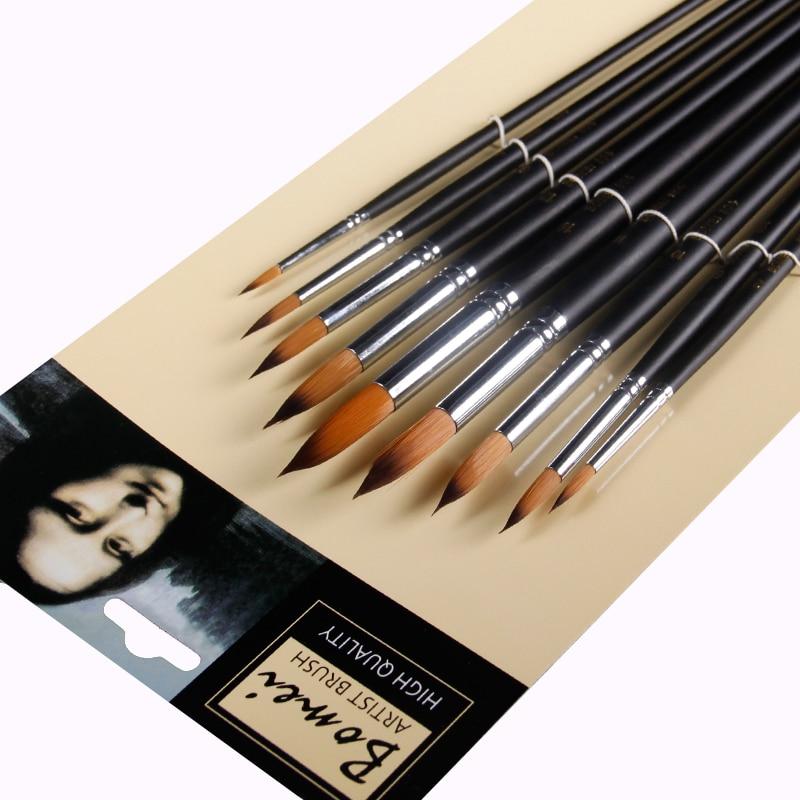 Купить с кэшбэком BGLN 9pcs Long Handle Nylon Watercolor Paint Brushes Gouache Acrylic Painting Brush Pen pincel para pintura Art Supplies 804