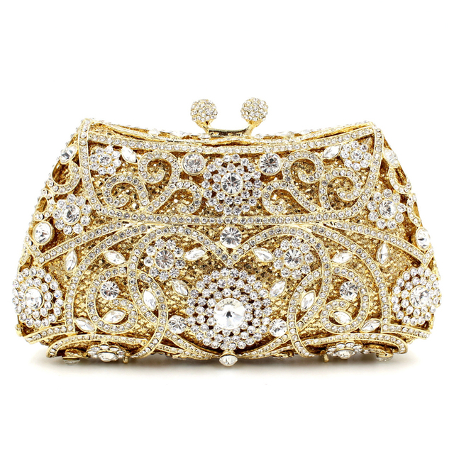 NATASSIE Women Evening Bags Ladies Wedding Party Clutch Bag Crystal Gold Diamonds Purses