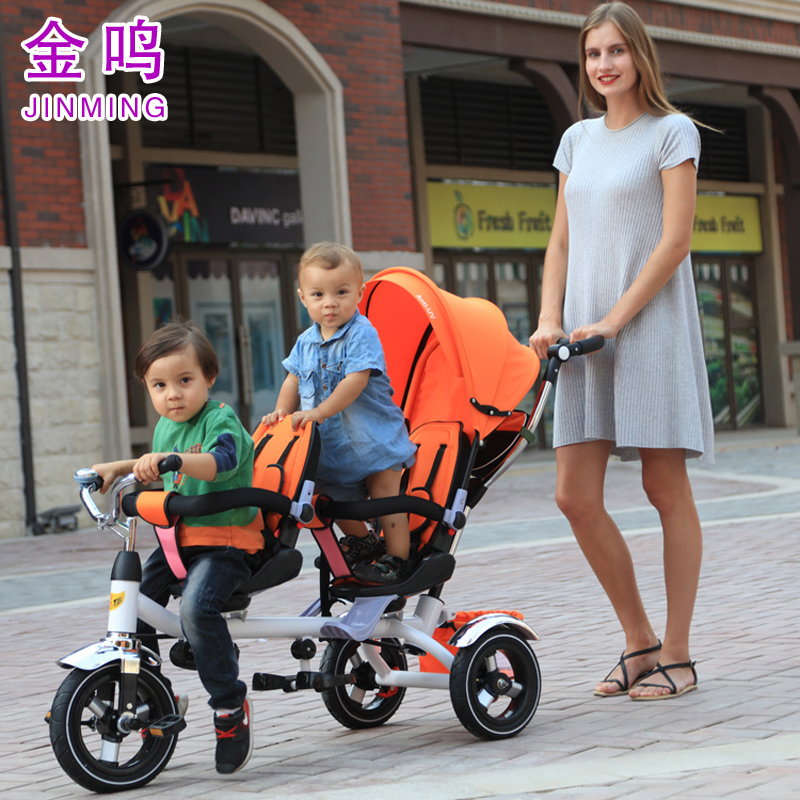 Updated good quality twins child tricycle bike double seats tricycle trolley baby bike baby stroller for 6monthes to 6 years 2016 updated new one touch swivel two way seat child tricycle infant stroller baby bike trolley swivel seat tricycle