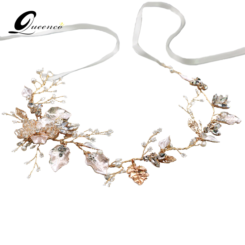 Gold Leaves Hair Accessories Pearls Bridal Headbands Tiaras Wedding Hair Jewelry Charm Headpiece Party Accessories Ornaments admin manage