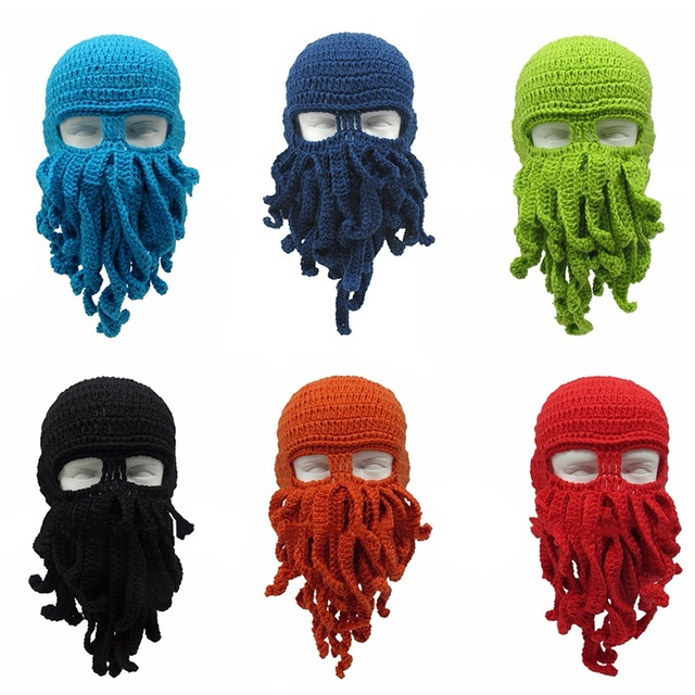 Novelty Tentacle Octopus Hat Unisex Winter Warm Knitted Woolen Yarn Face  Mask Cap Ski Funny Squid fe7984a7f0f7
