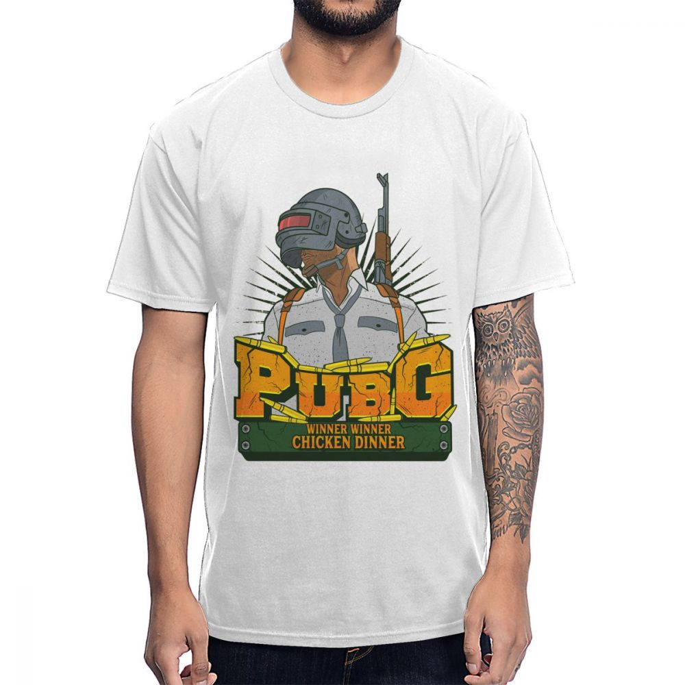 Novelty Chicken Winner PUBG T shirt Classic Game Picture Custom Cotton Big Size Tee Shirt image