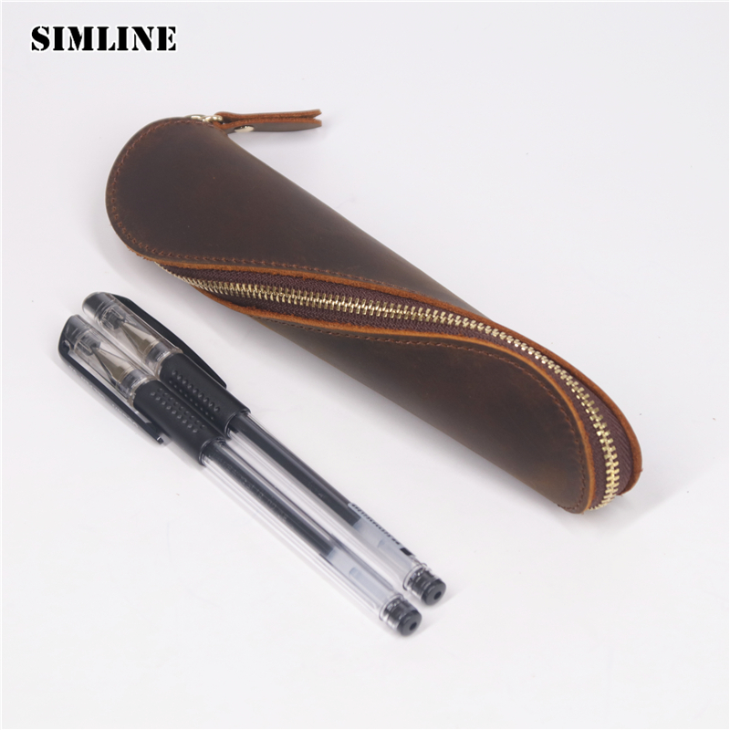 все цены на SIMLINE Genuine Leather Pen Bag Pencil Bags Case Holder Long Men Women Vintage Handmade Crazy Horse Cowhide Travel Accessories