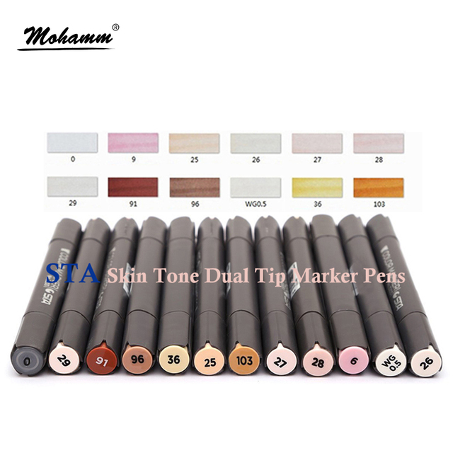 12pcs STA Skin Tone Markers Dual Tip Alcohol Marker Pens Professional Sketching Pens For Drawing Face Portrait Comic Books