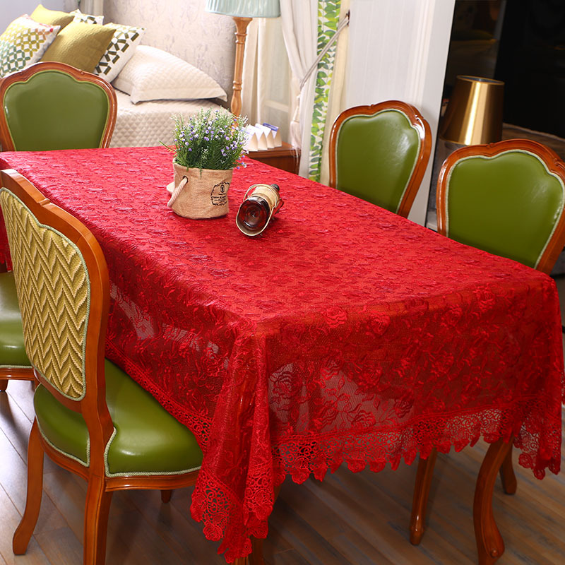 Exceptional Table Cover Red White Yellow Lace Embroidered Tablecloth Manteles Para Mesa  Rectangulares Weding Decoration Cloth(