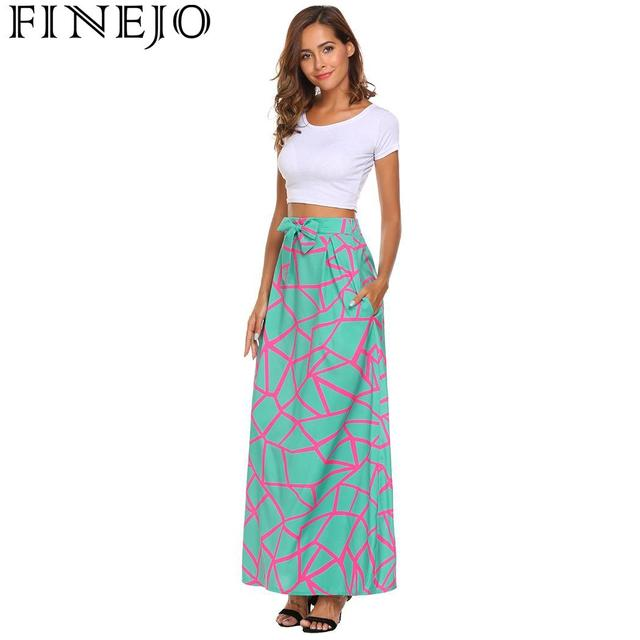 FINEJO Feminina Saias Summer Boho Beach Maxi High Elastic Waist Vintage Style Women Long Skirt Lace-up Casual Fashion Saia
