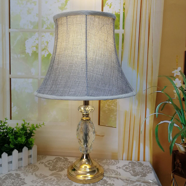 TUDA Free Shipping Gray Fabric Shade Table Lamp Art Decor Style K9 Crystal  Base Table Lamp