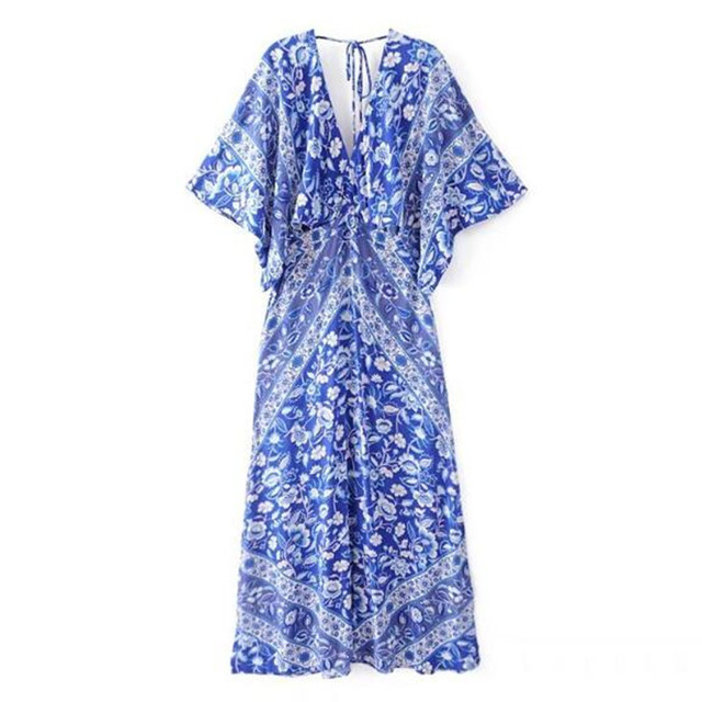 b3e2f0e9cee Bohemian Blue White Floral Print Backless Maxi Dress 2018 Summer Lace up V-neck  Slit side Silhouette Long Women Dresses Vestidos