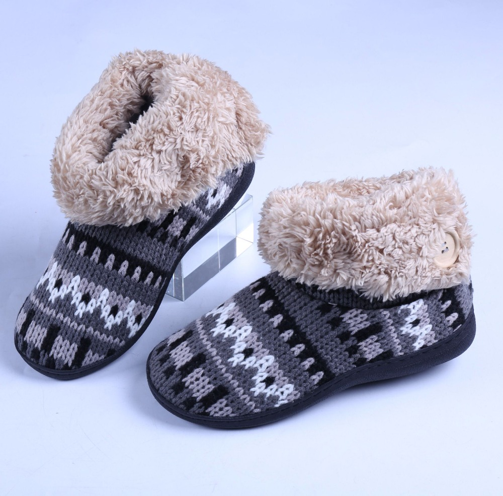 Home Slippers Women Men Unisex Non-Slip Winter Fabric Thick Plush Warm Stripe Winter Slippers Indoor Plus Size plush home slippers women winter indoor shoes couple slippers men waterproof home interior non slip warmth month pu leather