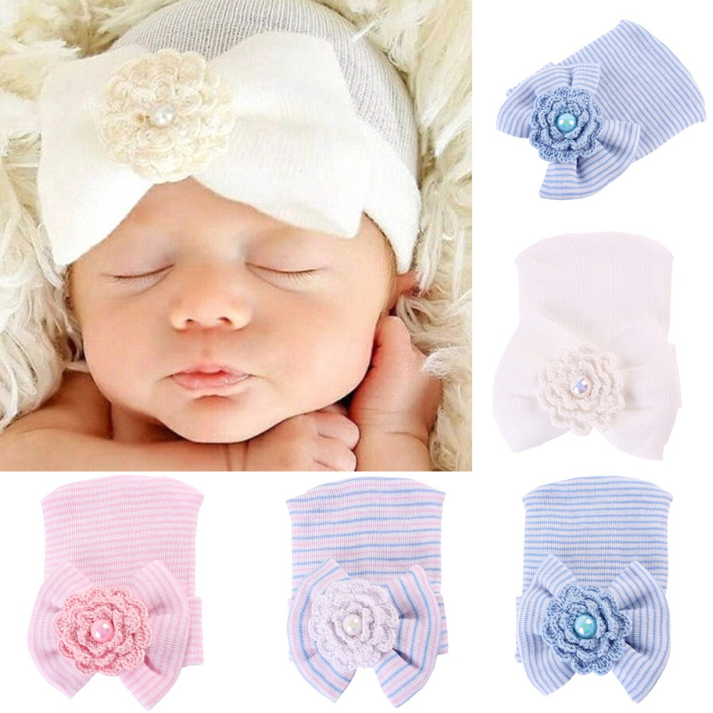 7aac5b7bd7562d Puseky Newborn Baby Infant Toddler Girls Bow Flower Soft Hospital Cap Beanie  Cute Hat 6m Photograf Prop In Hats Caps From Mother Kids On
