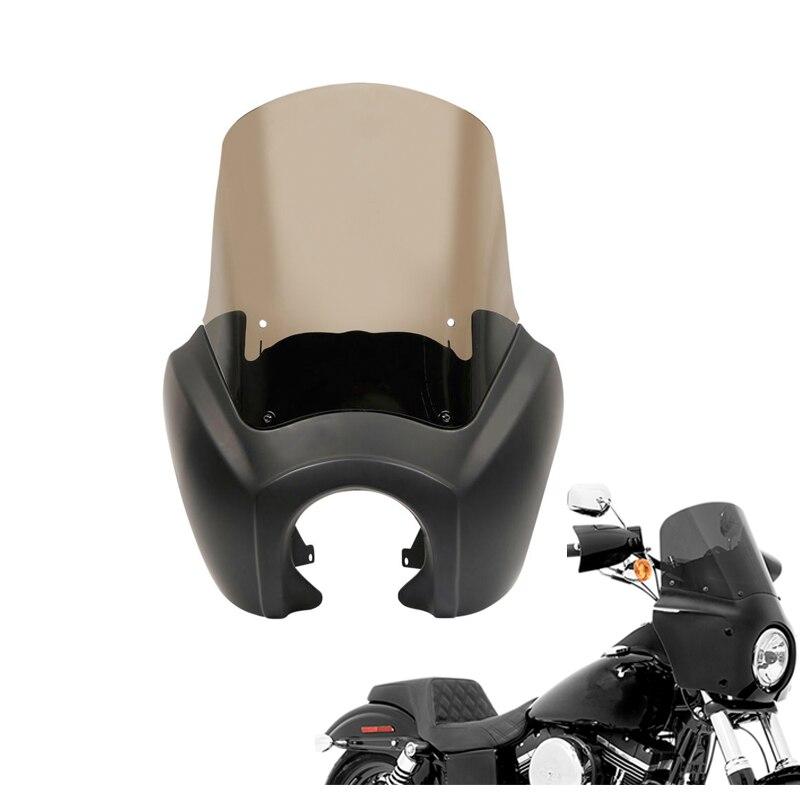 Moto Noir Front Upper Carénage Pare-Brise Pare-Brise Pour Harley Dyna Low Rider Fat Street Bob 06-2017 FXDL FLD FXDF