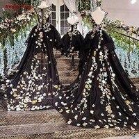 שחור קצר שפתוחה ארוך בחזרה שמלות ערב שמלת תחרה עד בחזרה פרחים Abendkleider בת אמא תמונות אמיתיות