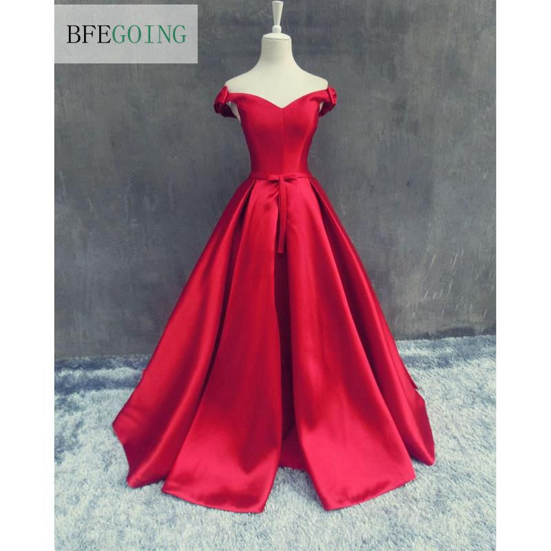 Red V Neck Sleeveless Soft Satin Length Floor A line Wedding dress Sweep Train Lace up