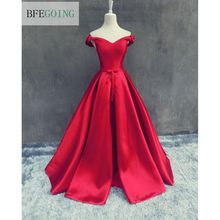 Red V-Neck Sleeveless  Soft Satin Length-Floor  A-line Wedding dress  Sweep  Train  Lace up Custom made  Bridal Dress