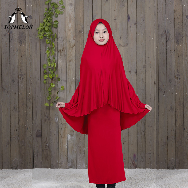 TOPMELON Traditional Abaya Hijab Robes For Girls Two Piece Muslim Prayer Clothes Kids Solid Loose Large Abayas