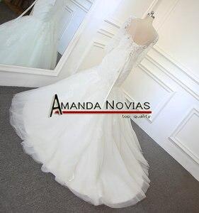 Image 4 - 새로운 디자인 긴 소매 페르시 neckline 레이스 인어 진짜 amanda novias 웨딩 드레스 2019 vestido de noiva