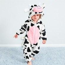Для маленьких мальчиков Одежда для девочек новорожденных для маленьких девочек мальчик мультфильм животных с капюшоном фланелевый комбинезон Теплая одежда#4A30