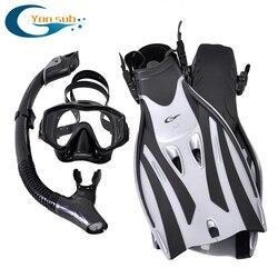 Профессиональное оборудование для подводного плавания для взрослых с маской, трубкой, регулируемыми плавниками, набор для подводного плав...