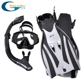 Professional Scuba Adult Diving Equipment With Mask Snorkel Adjustable Fins Set Snorkeling Gear For Underwater Hunting Swimming fste yon sub adult snorkeling fins swim training adjustable underwater foot diving fins professional diver gear water sports f