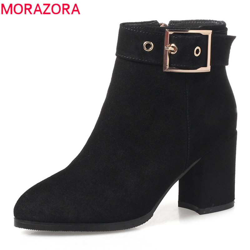 MORAZORA 2018 new arrival women boots pointed toe zipper ankle boots short plush autumn winter ladies boots high heels shoesMORAZORA 2018 new arrival women boots pointed toe zipper ankle boots short plush autumn winter ladies boots high heels shoes