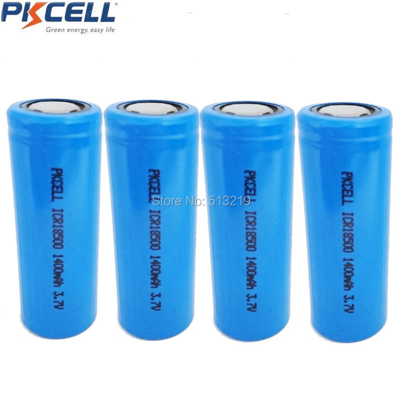 4 x Green power ICR18500 rechargeable lithium ion battery for ir telescope 3.7V 1400mah Li-ioin Batteries Flat Top