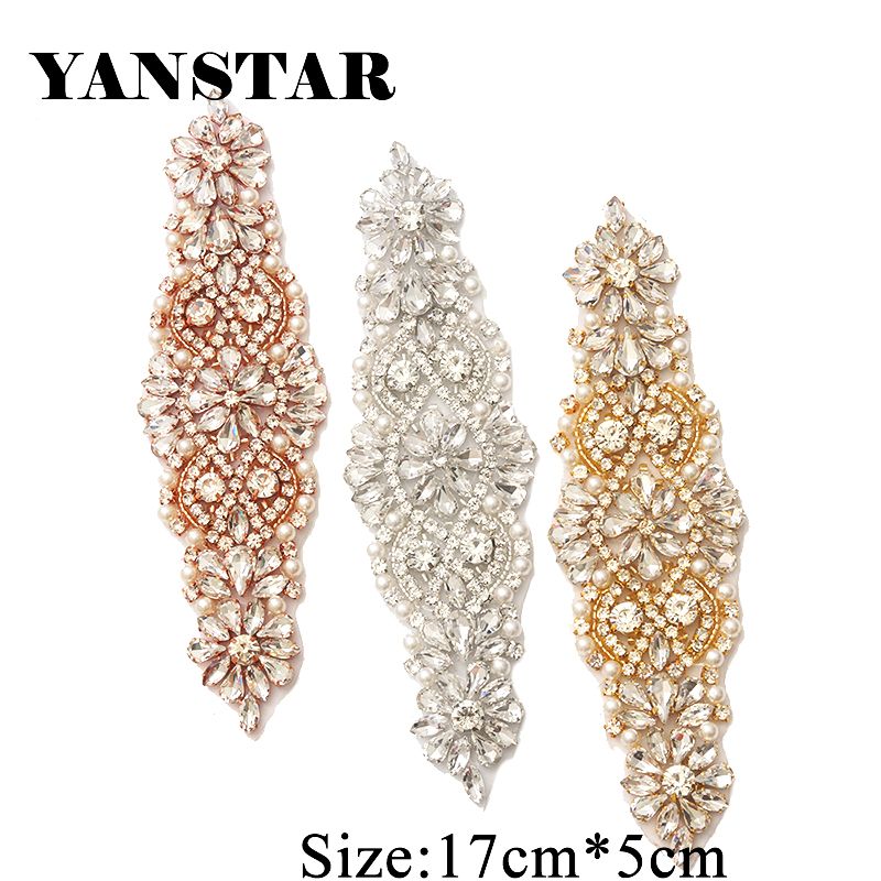 YANSTAR 1 PCS Rhinestone Appliques For Wedding Belt Rose Gold Crystal - Өнер, қолөнер және тігін - фото 4