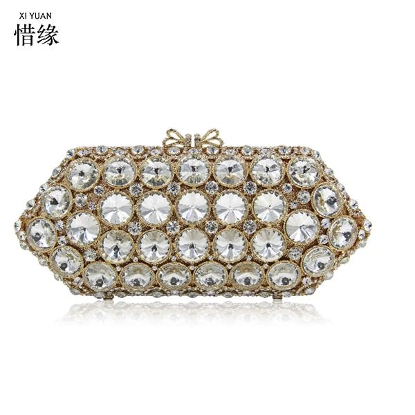 XIYUAN BRAND Luxury Handmade Diamonds Chain Evening Bag Fashion American Beaded Shoulder Bag Pearl Party Purse Clutch Bolso pearl beaded shoulder top