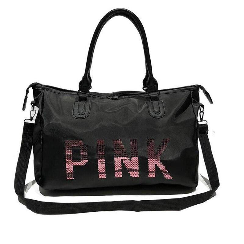 Wobag Ladies Black Travel Bag Pink Sequins Shoulder Bag Women Handbag Ladies Weekend Portable Duffel Bag Waterproof Wash 1